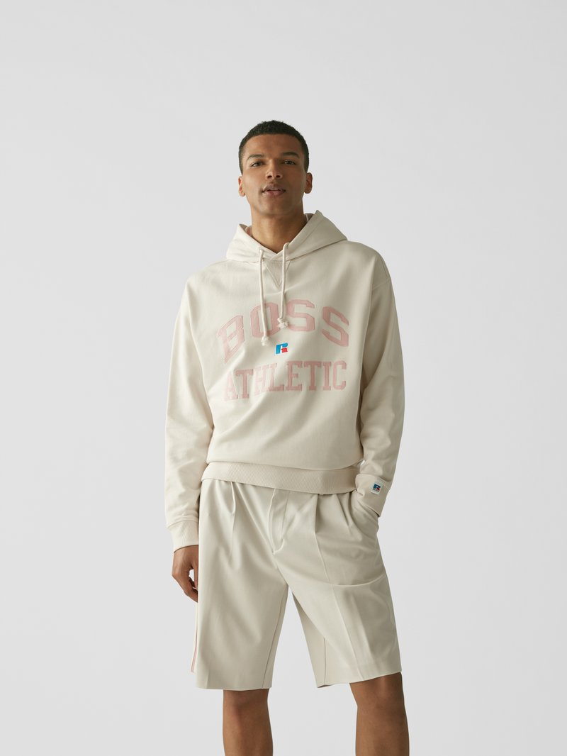 BOSS x Russell Athletic Hoodie mit Label-Stitching Sand - 1