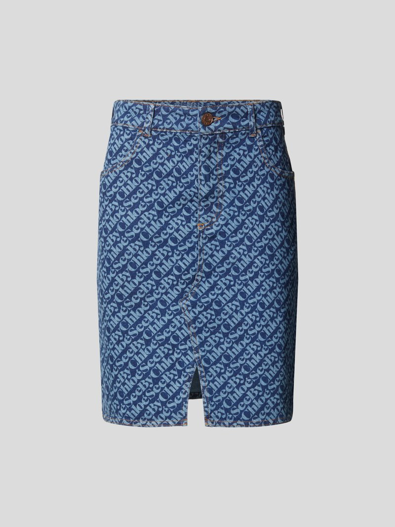 See by Chloé Jeansrock mit Logo-Muster Blau - 1