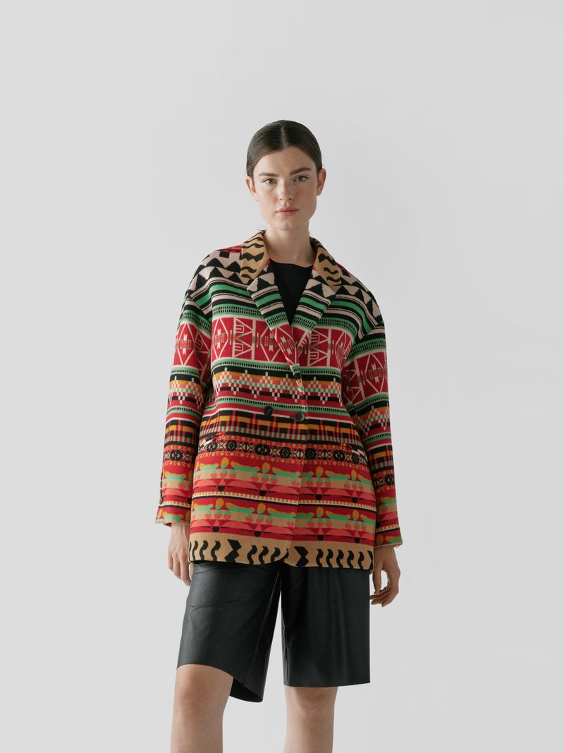 Etro Mantel mit Muster-Mix Rostrot - 1