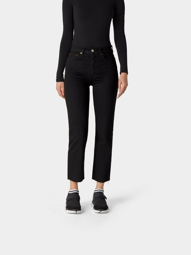 RE/DONE Cropped Straight Leg Jeans Schwarz - 1