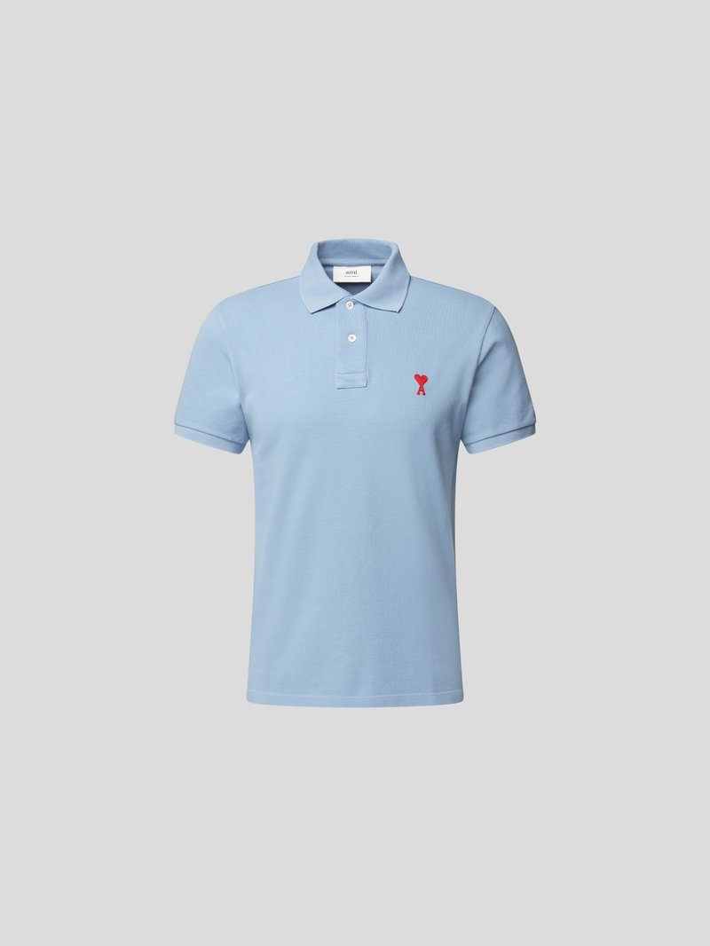 AMI PARIS Poloshirt mit Label-Stickerei Blau - 1