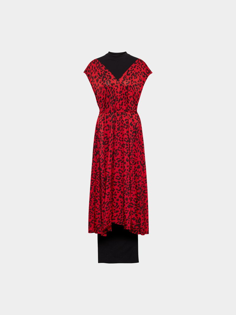 VETEMENTS Kleid mit Allover-Muster Rot - 1