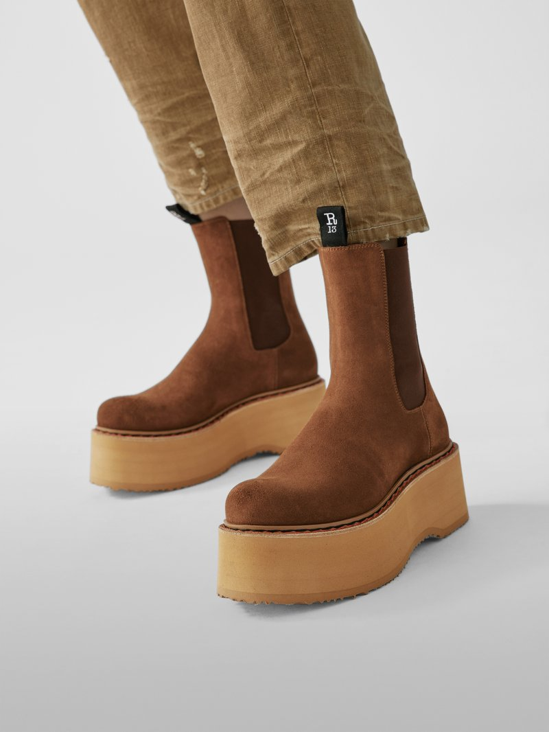 R13 Chelsea Boots mit Plateausohle in Braun - 1