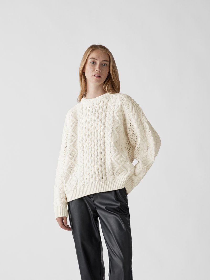 LouLou Studio Pullover mit Zopfmuster Weiß - 1