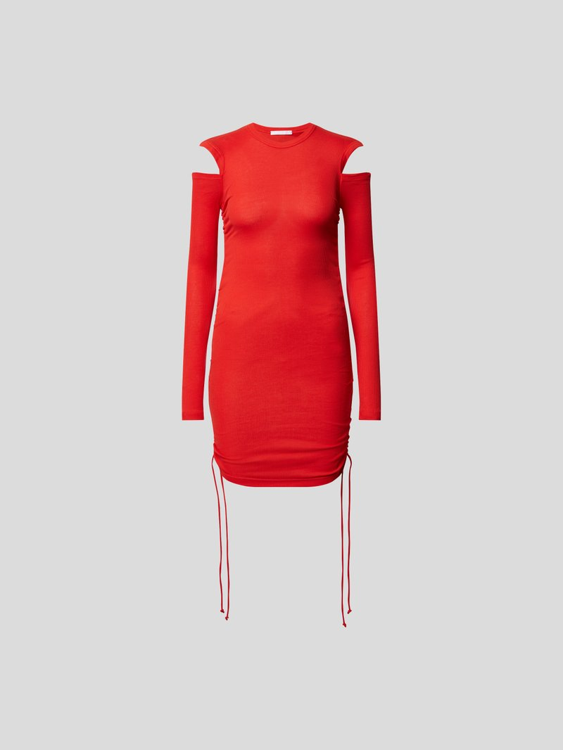Helmut Lang Midikleid mit Cut Outs Rot - 1
