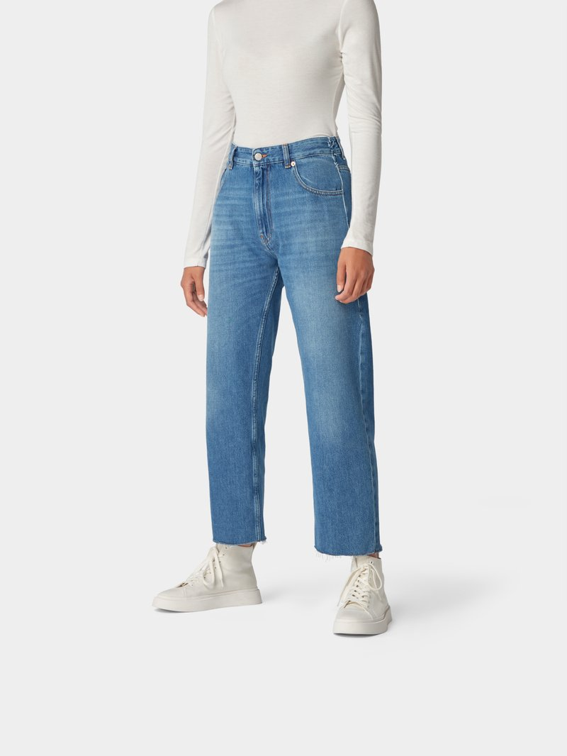MM6 Maison Margiela Relaxed Fit Jeans im Used-Look Dunkelblau - 1