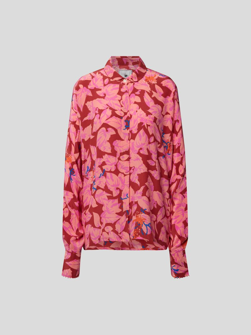 an an londree Seidenbluse mit Allover-Muster Rosa - 1