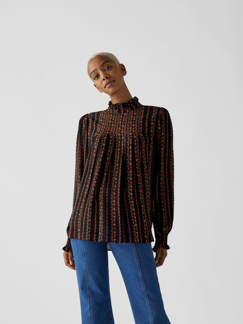 See by Chloé Bluse mit floralem Allover-Muster Metallic Schwarz - 1