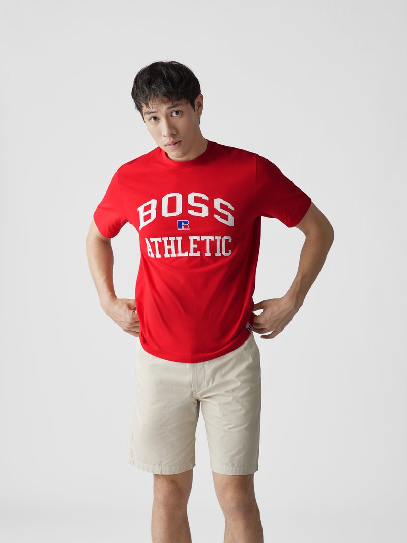 BOSS x Russell Athletic T-Shirt mit Label-Stitching Rot - 1