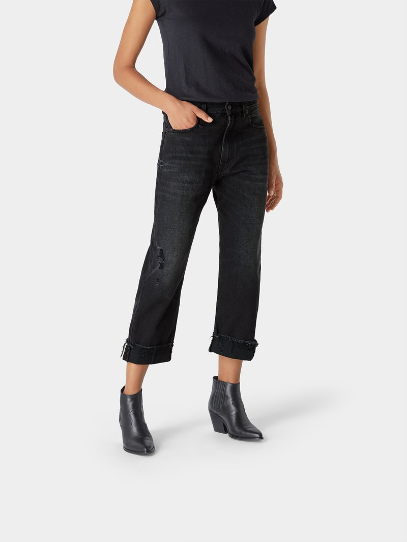 R13 Relaxed Fit Jeans im Used-Look Schwarz - 1