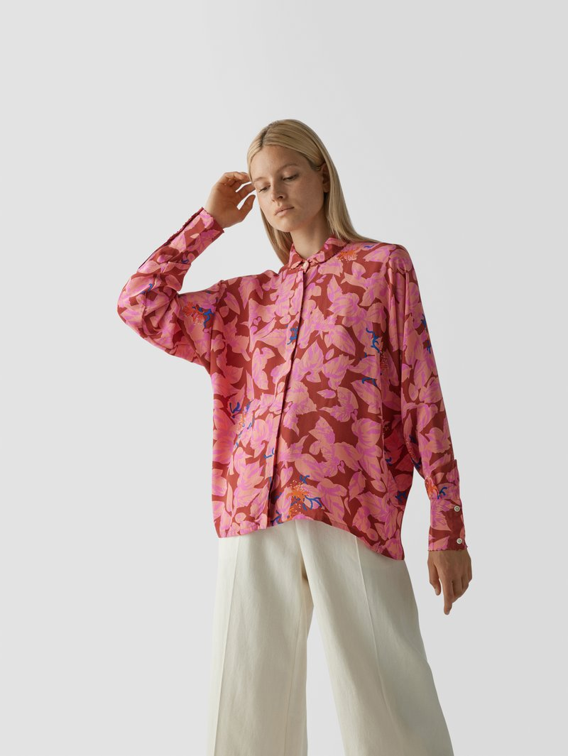an an londree Seidenbluse mit Allover-Muster Pink - 1