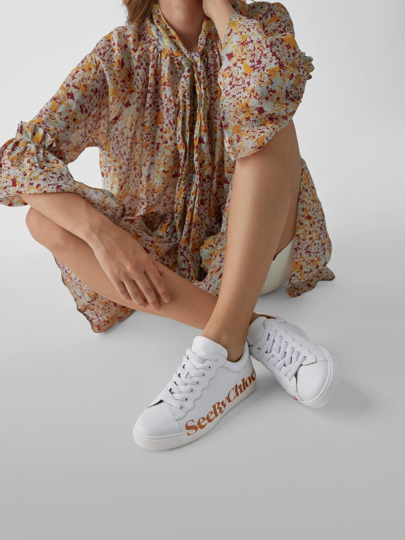 See by Chloé Sneaker mit Label-Print in Weiß - 1