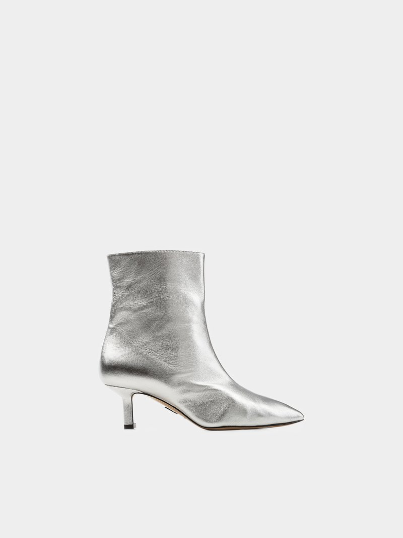 Paul Andrew Ankle Boots Mangold mit Kitten Heel Silber - 1