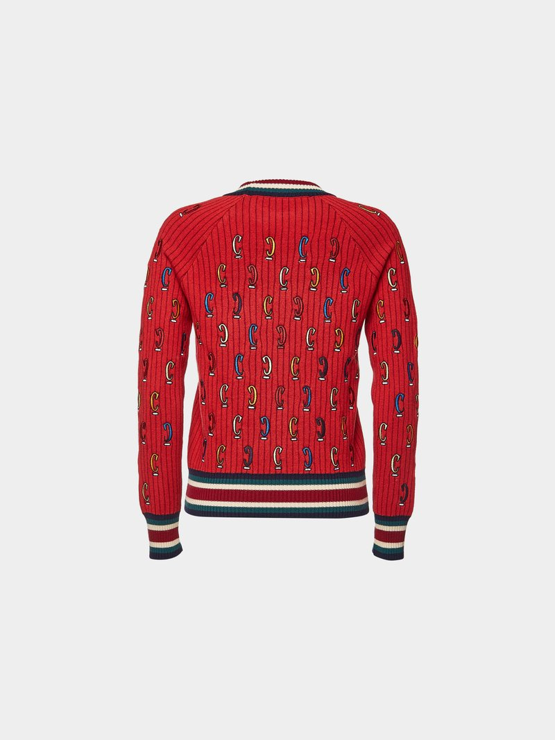 Carven Bestickter Pullover aus Wolle Rot - 1