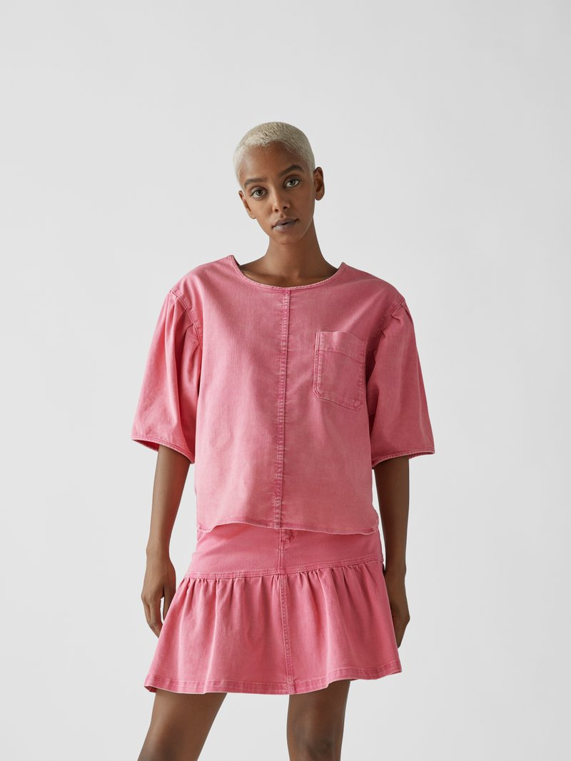See by Chloé Bluse mit Denim-Finish Pink - 1