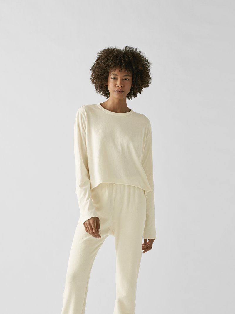 The Great Cropped Longsleeve Offwhite - 1