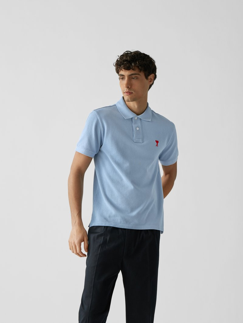 AMI PARIS Poloshirt mit Label-Stickerei Hellblau - 1