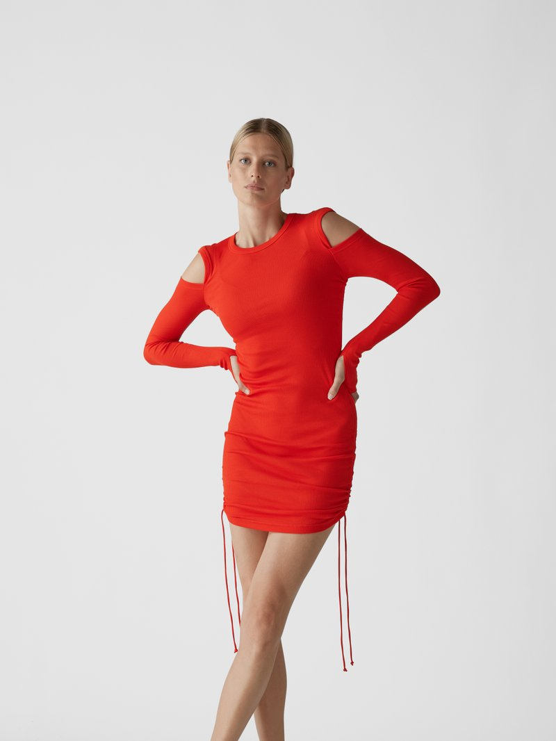 Helmut Lang Midikleid mit Cut Outs Hellrot - 1