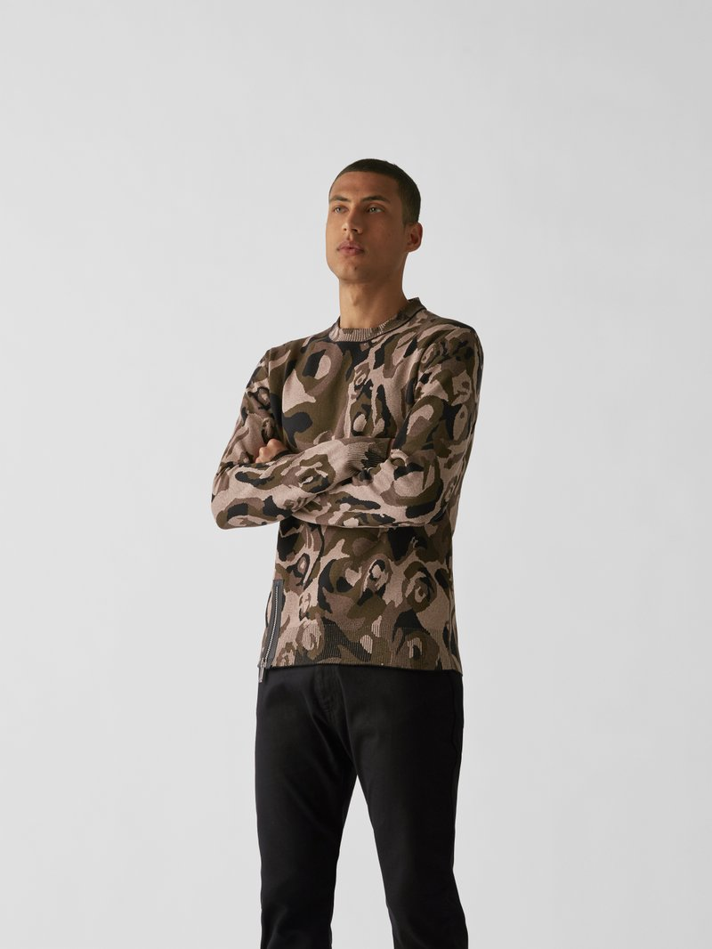 Les Hommes Pullover mit Military-Muster Beige - 1