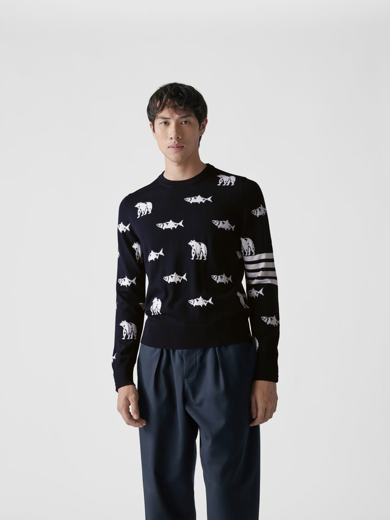 Thom Browne Pullover mit Allover-Muster Dunkelblau - 1