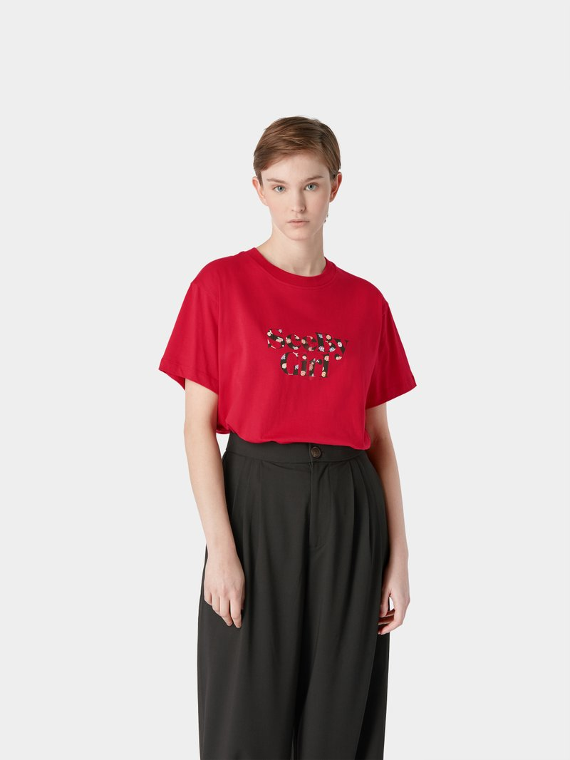 See by Chloé T-Shirt mit Label-Print Rot - 1