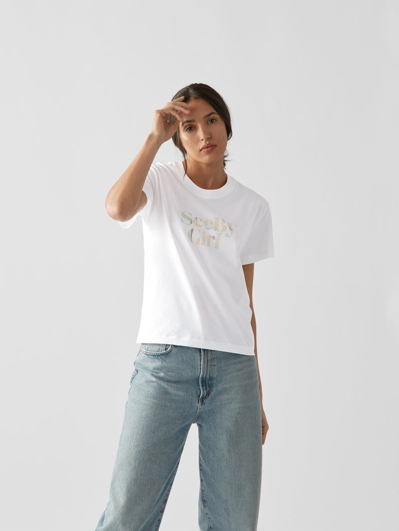 See by Chloé T-Shirt mit Label-Print Weiß - 1