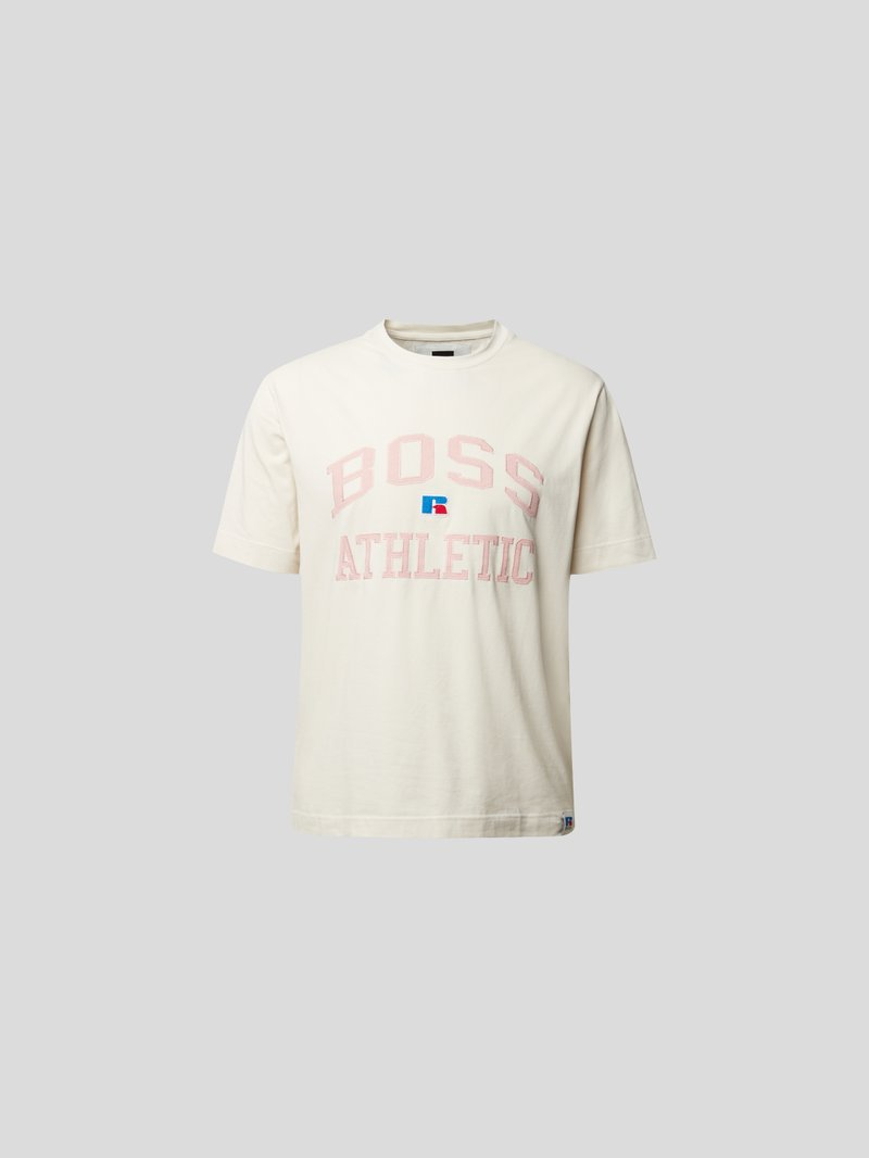 BOSS x Russell Athletic T-Shirt mit Label-Stitching Beige - 1