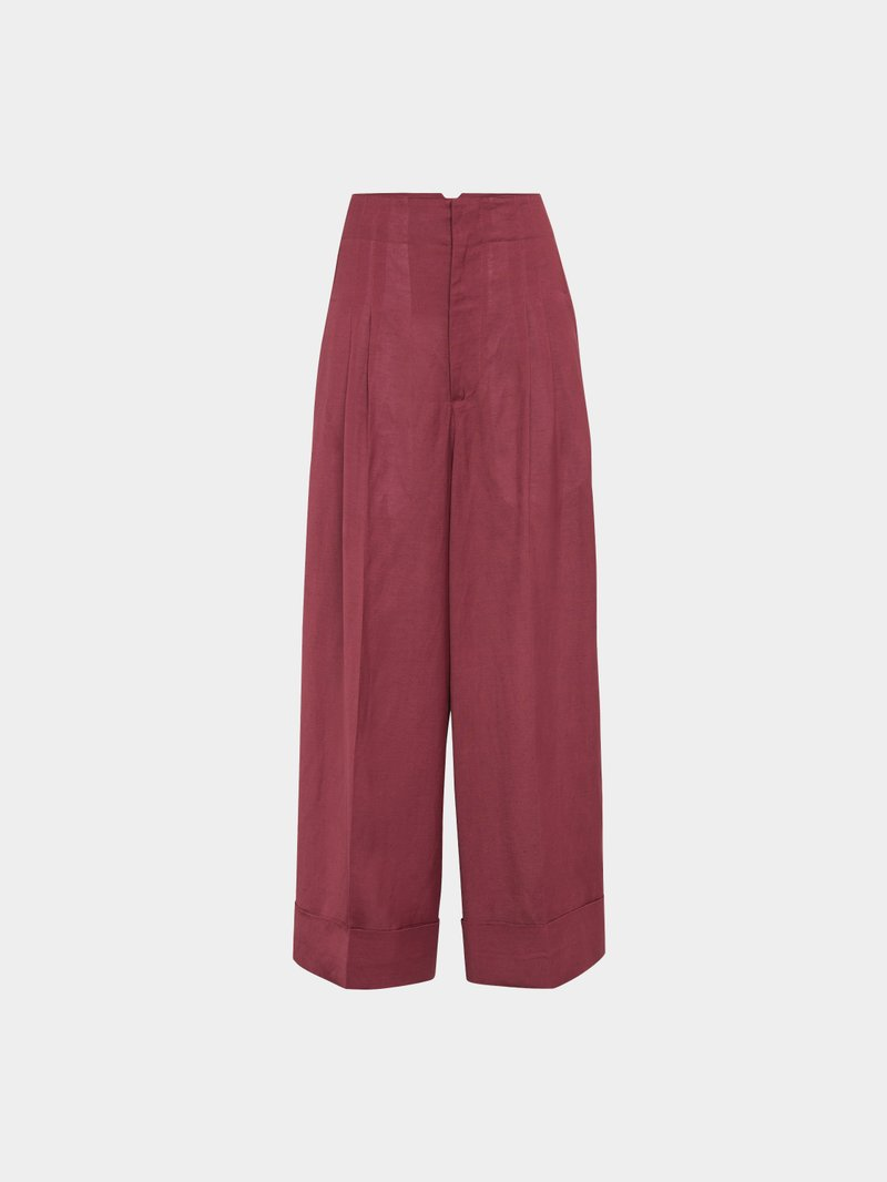 Golden Goose Cropped Wide Leg Pants Rot - 1
