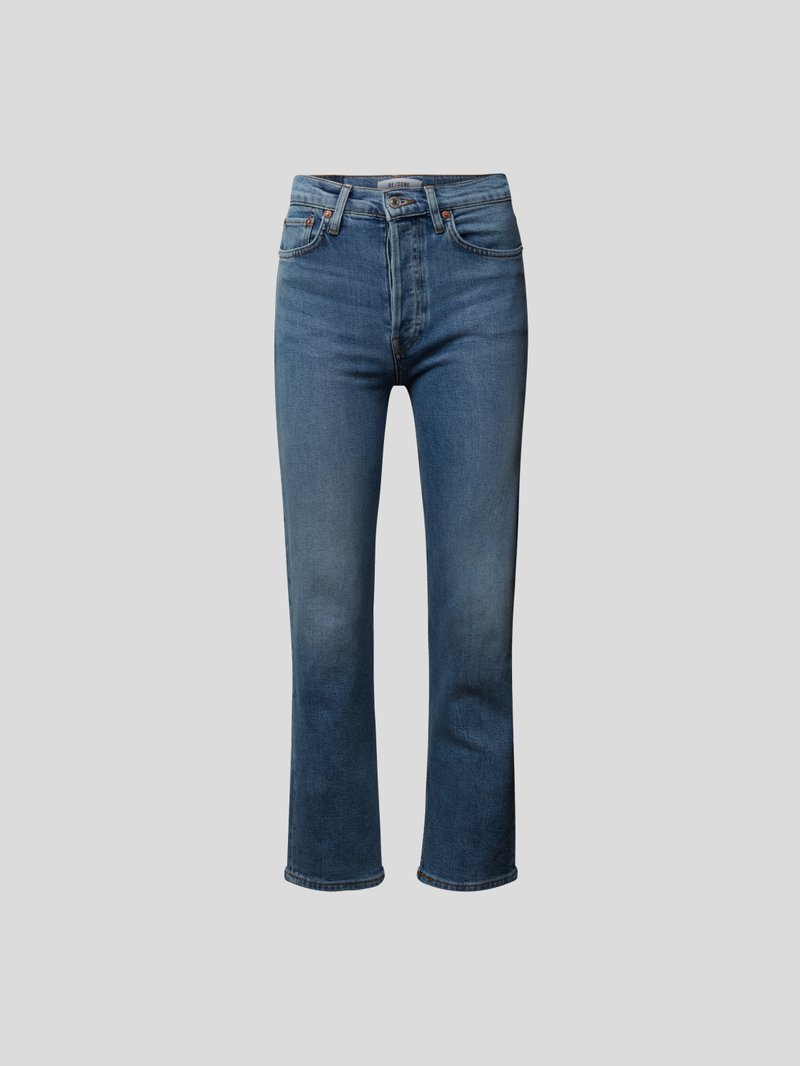RE/DONE Cropped Straight Leg Jeans Blau - 1