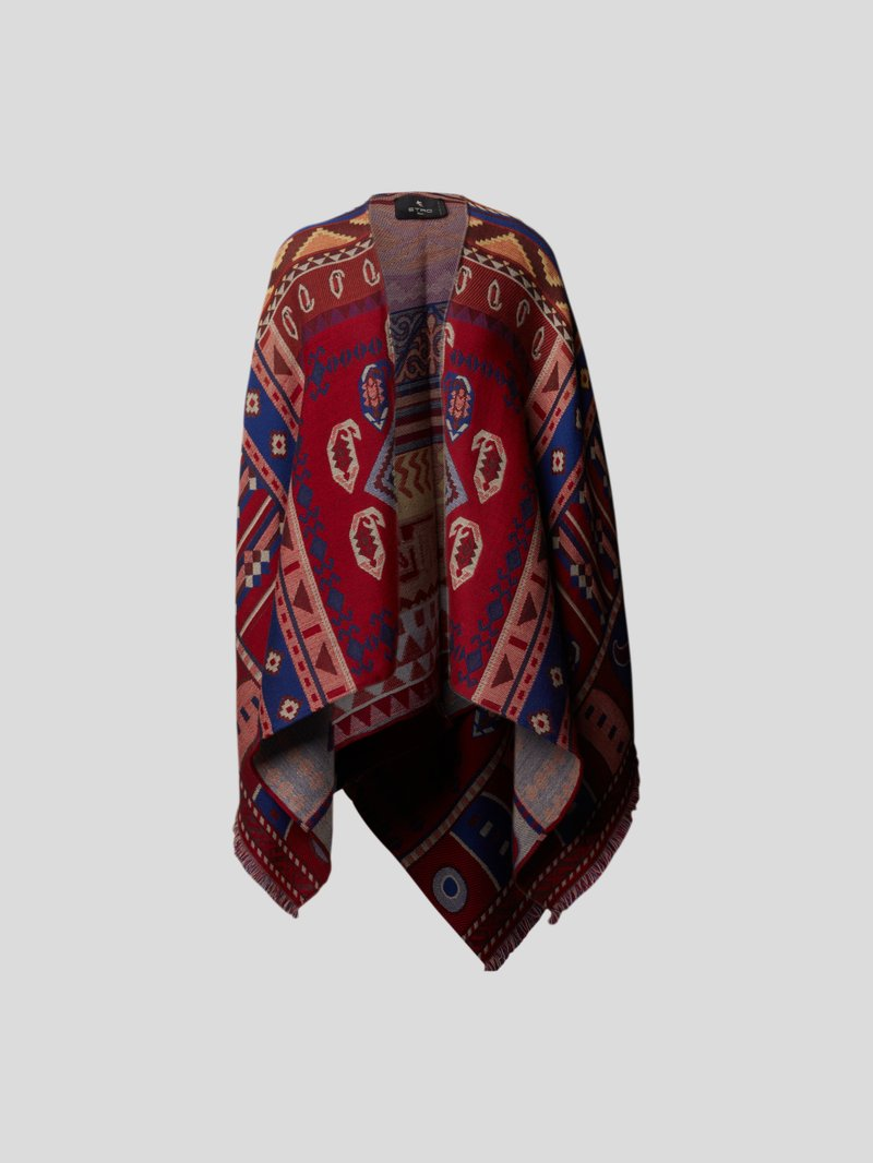 Etro Poncho mit Allover-Muster Rot - 1