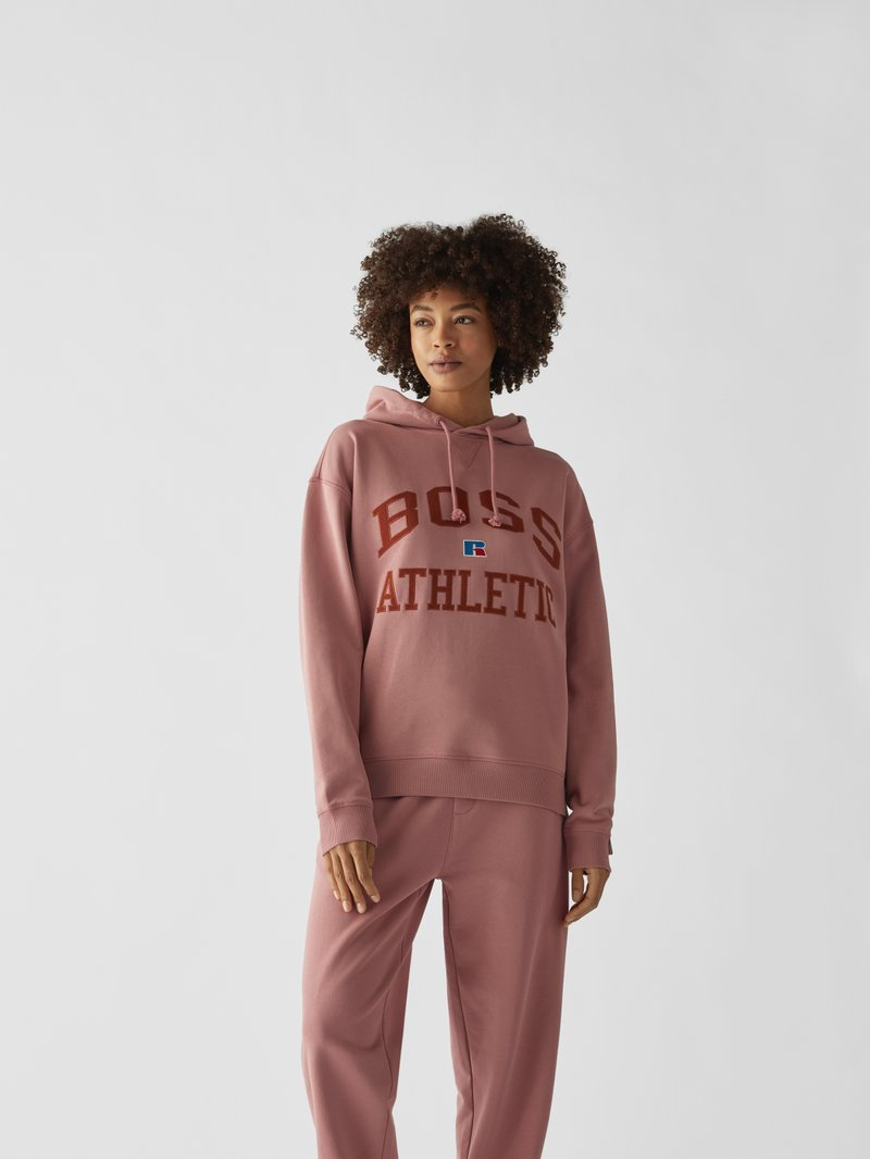 BOSS x Russell Athletic Hoodie mit Label-Stitching Pink - 1