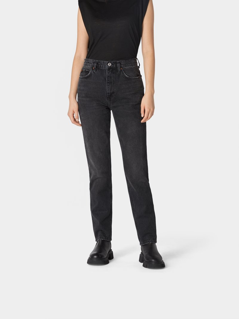 RE/DONE Straight Leg Jeans im Used-Look Schwarz - 1