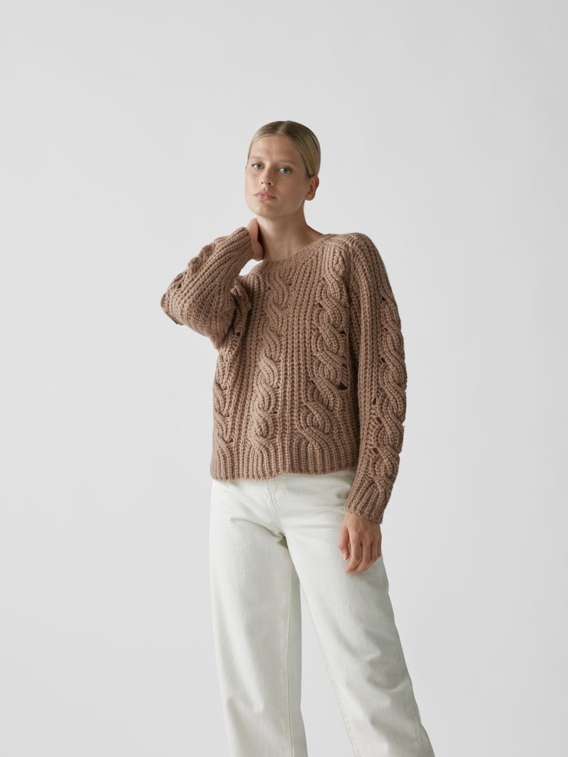Iro Pullover mit Zopfmuster Taupe - 1