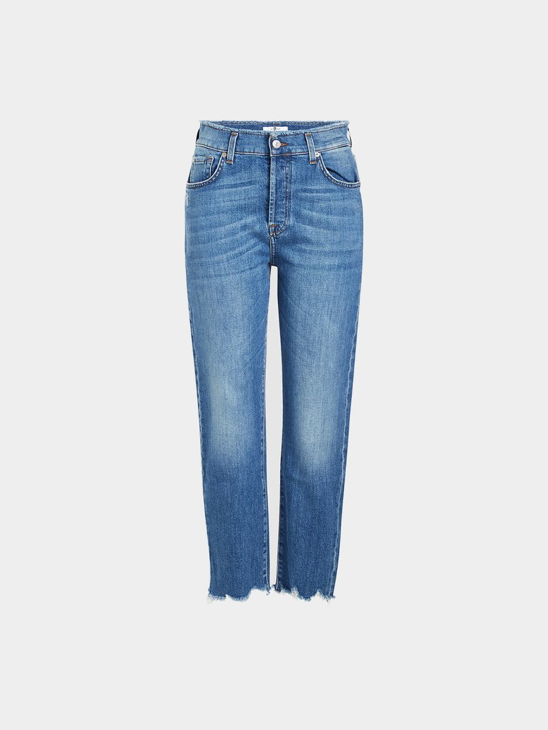 7 for all Mankind Cropped High Waist Jeans Blau - 1