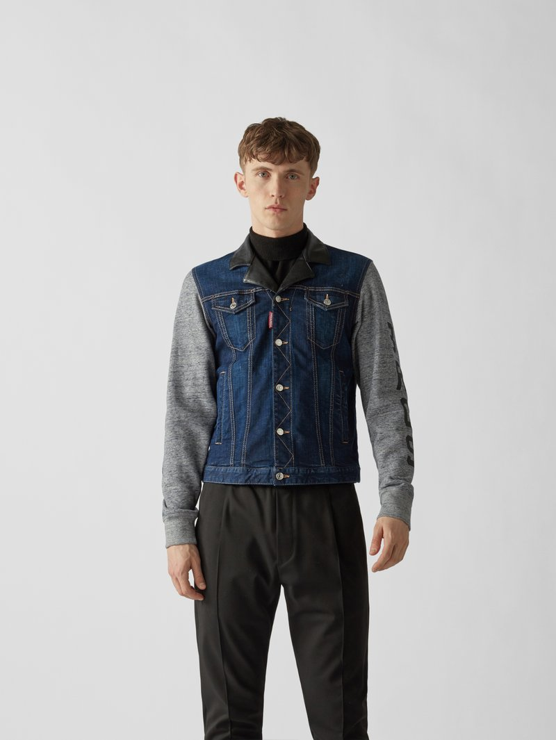 Dsquared2 Jeansjacke mit Material-Mix Jeans - 1