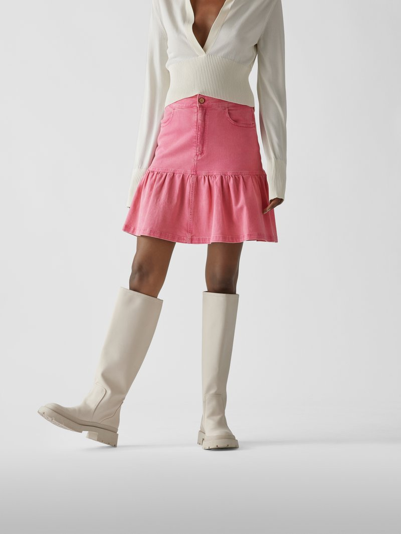 See by Chloé Jeansrock mit Brand-Details Pink - 1