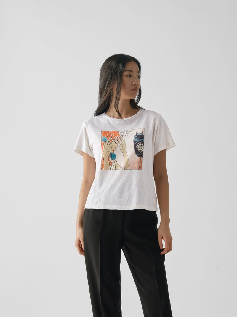 RE/DONE T-Shirt mit Print Offwhite - 1