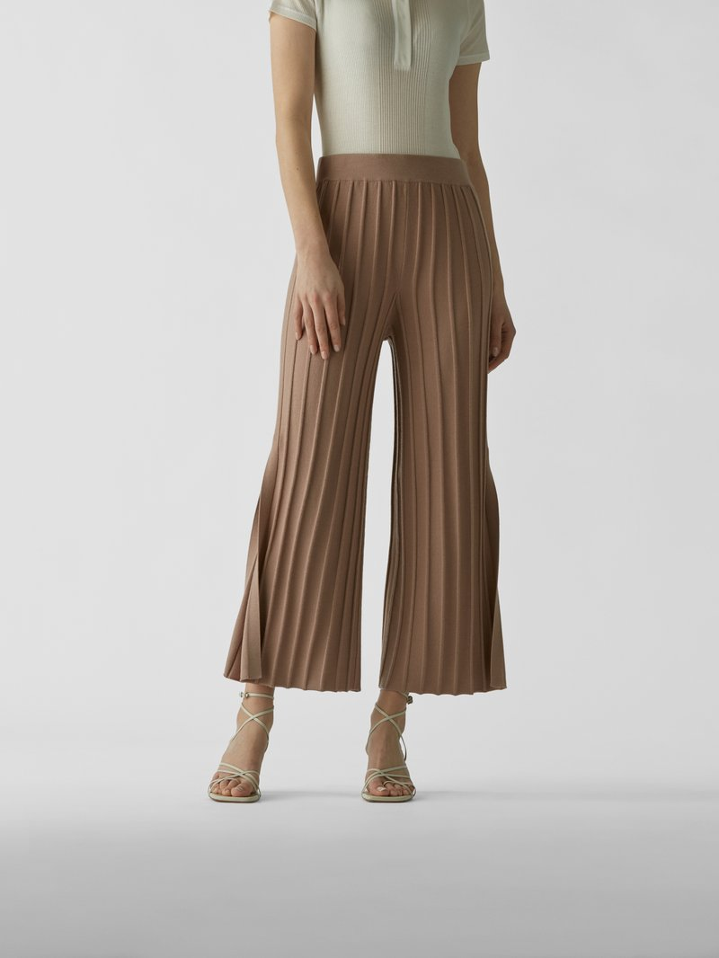 Theory Wide Leg Hose aus Wolle Beige - 1