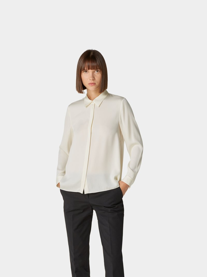 Theory Bluse mit Seide-Mix Offwhite - 1