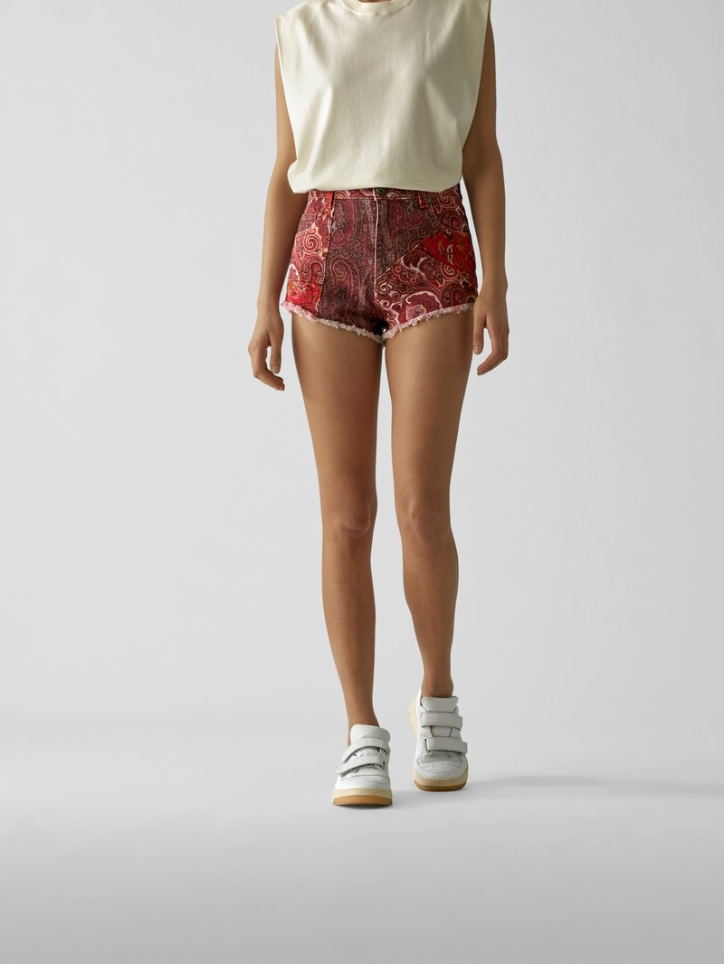 Etro Shorts mit Allover-Muster Rot - 1