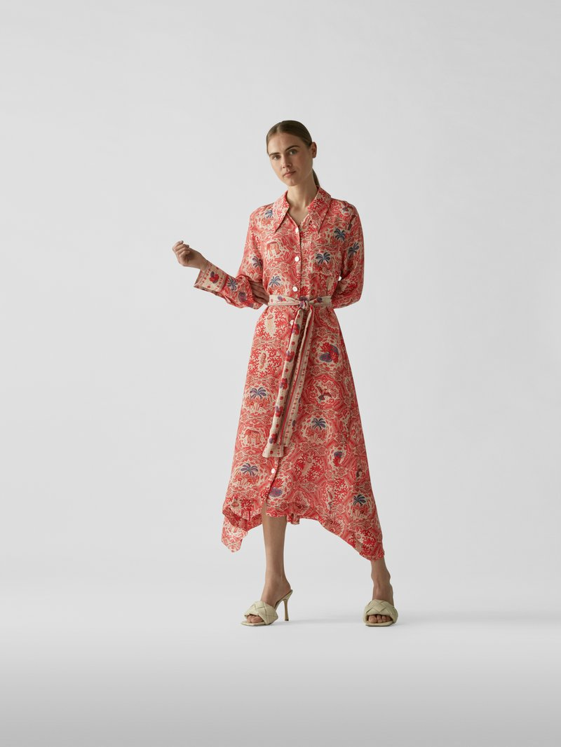 Chufy Maxikleid mit Allover-Muster Rot - 1